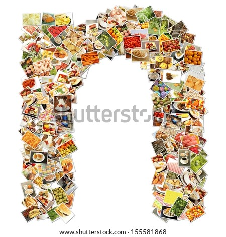 Food Art N Lowercase Shape Collage Abstract - stock photo