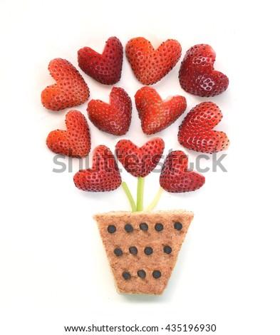 Food art - Strawberry flowers - stock photo