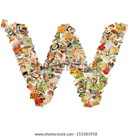 Food Art W Lowercase Shape Collage Abstract - stock photo