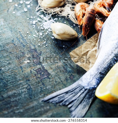 Food background with Seafood and Wine. Lots of copy space - stock photo