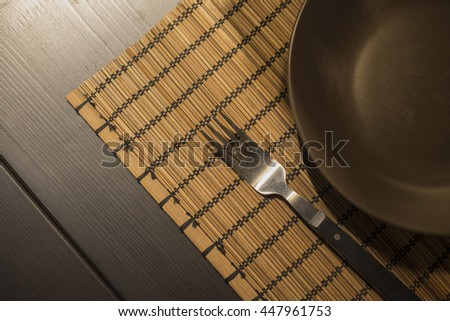 food background with Steel plate and spoon