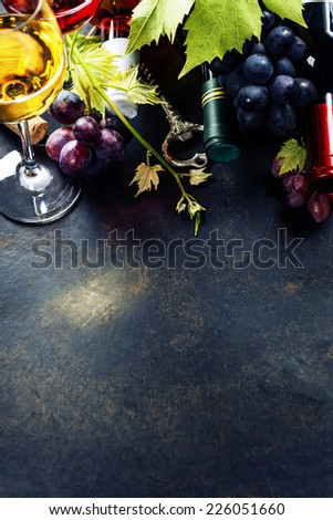Food background with Wine and Grape. - stock photo