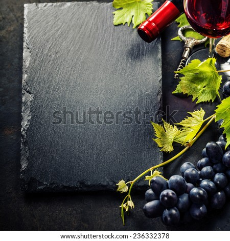 Food background with Wine and Grape. Lots of copy space. - stock photo