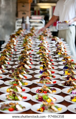 food being plated at a wedding. this image has a very shallow depth of field
