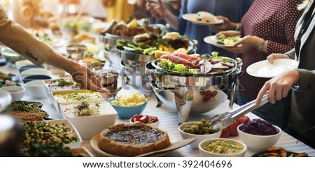 Food buffet catering dining eating party stock photo for Idee per bar originali