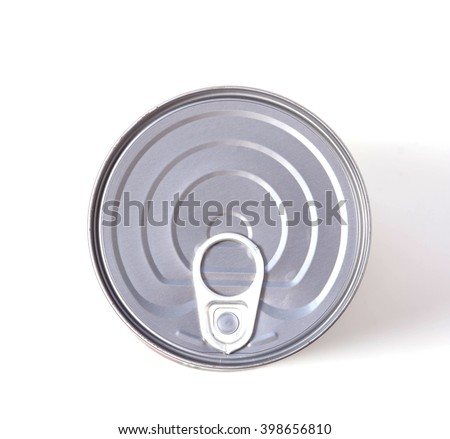 Food can on white background, view from the top  - stock photo