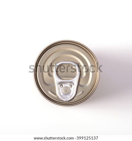 Food can on white background, view from the top