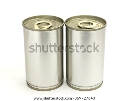 food canned on white background
