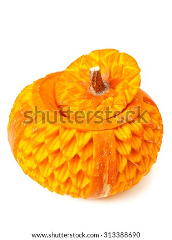 Food carving from pumpkin. Isolated on white background.