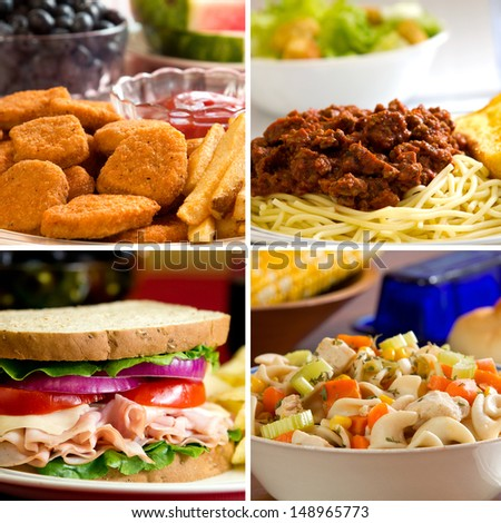 Food collage depicting chicken nuggets, spaghetti, turkey sandwich and chicken noodle soup.