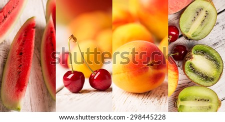 Food collage from photos of tasty fruits - stock photo