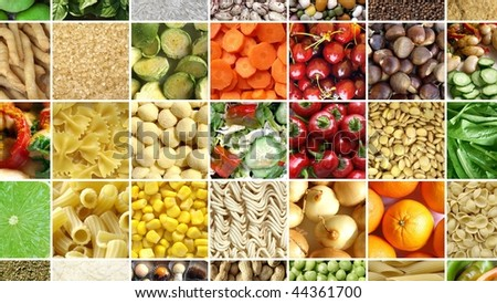 Food collage including 49 pictures of vegetables, fruit, pasta and more - (16:9 ratio) - stock photo