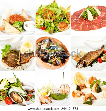 Food collage with various seafood dishes including, salmon tartare, warm salad with scallops, stuffed and grilled dorado, salad with mussels, risotto with seafood in avocado and tiger prawns - stock photo