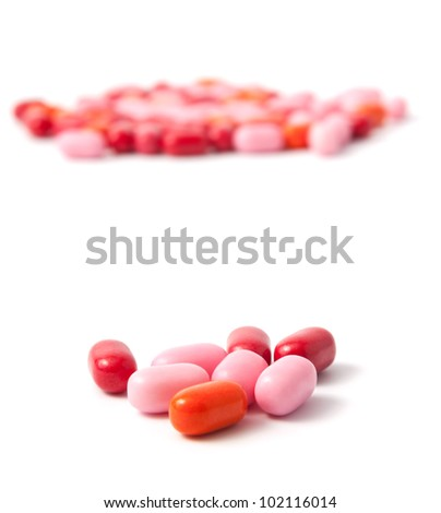 Food collection - Color candy on a white background with soft shadow - stock photo