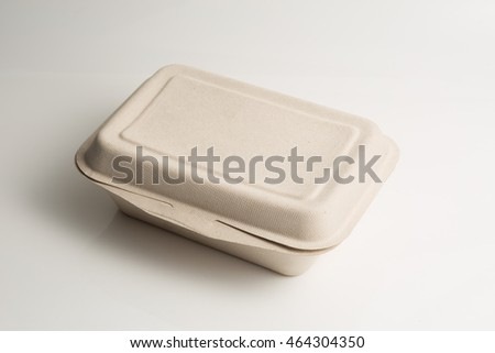 Food container make by renewable material on white background