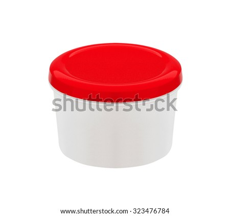 food container with red plastic lid isolated on white background - stock photo