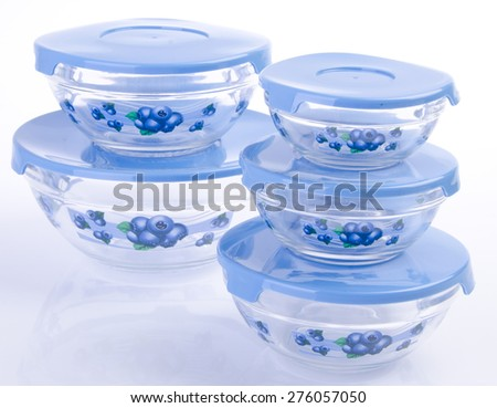 food containers on white background. - stock photo