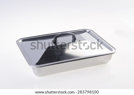 food containers, stainless steel food containers on white background