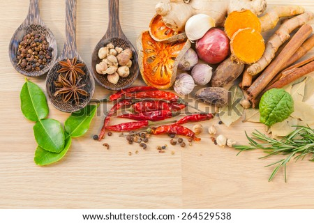 Food Cooking ingredients. - spice taste - stock photo