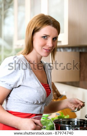 food cooking liquid in the pan - stock photo