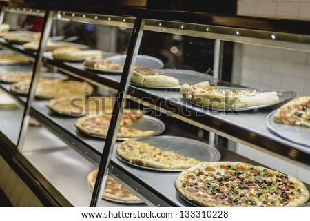 Food Court Pizza Warmer - stock photo