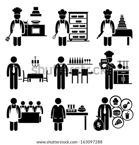 Food Culinary Jobs Occupations Careers - Cook Master Chef, Baker, Pastry, Restaurant Manager, Bartender, Cookbook Author, Cooking Class Teacher, Scientist, Franchise - Stick Figure Pictogram - stock photo