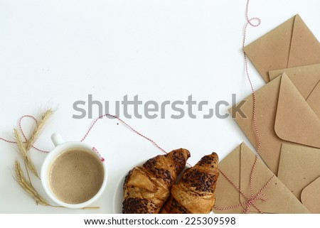 Food. Delicious croissant on the table - stock photo
