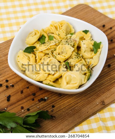 Food. Delicious dumplings on the table - stock photo