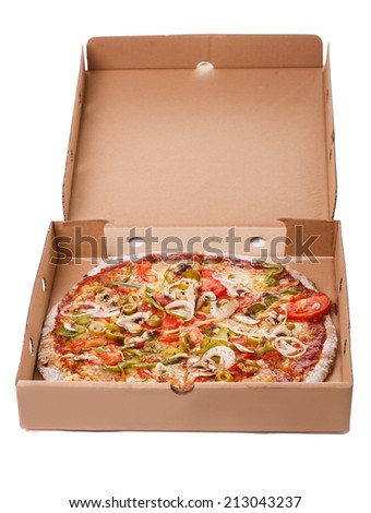 Food, delivery. Delicious pizza in a package
