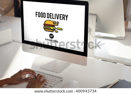 Food Delivery Fast Food Unhealthy Obesity Concept - stock photo
