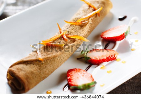Food Dessert Sweet Delicious Meal Cuisine Pastry Menu Confection Concept - stock photo