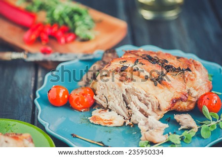Food dinner Pork Meat with Cherry Tomato - stock photo