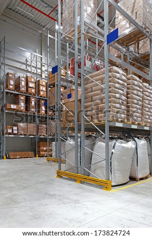 Food distribution warehouse with high shelves