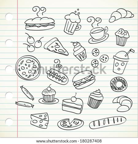 food doodle - stock photo