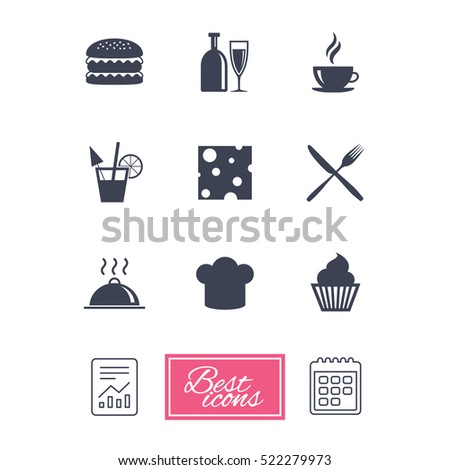 Food, drink icons. Coffee and hamburger signs. Cocktail, cheese and cupcake symbols. Report document, calendar icons.