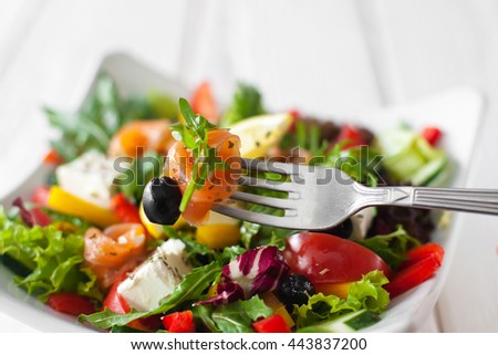 Food Eating Salad Salmon Fork Recipe Cuisine Snack Tasting Concept - stock photo