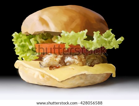 food, fast food, burgers, salads, chicken, steak, cheese, tomato, illustration, detailed drawing hands