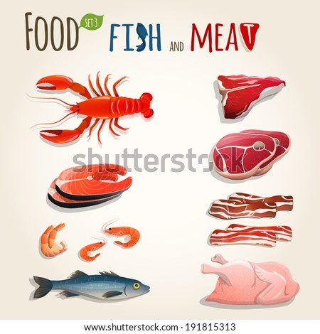 Food fish and meat decorative elements collection of chicken shrimp bacon  illustration