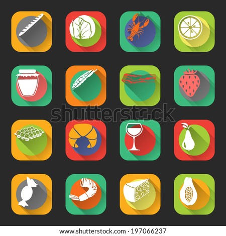 Food flat icons set of cabbage jam jar eggs wine glass isolated  illustration