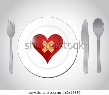 food for a broken heart concept illustration design over white - stock photo