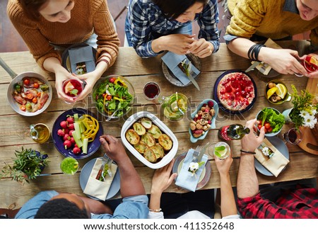 Food for friends - stock photo