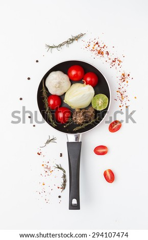 Food for health and cooked with herbs on the background - stock photo