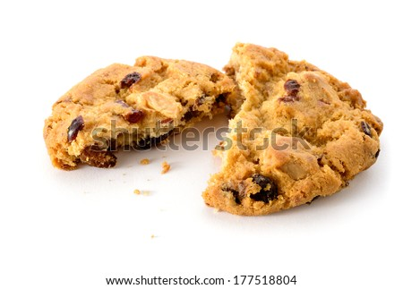 Food: fresh homemade cookie broken in half, on white background - stock photo