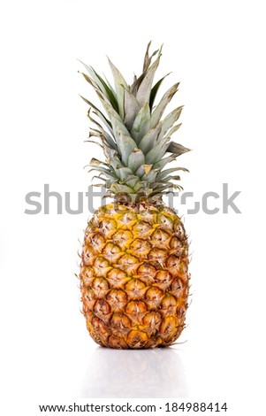 Food - Fruits - Pineapple over white background.