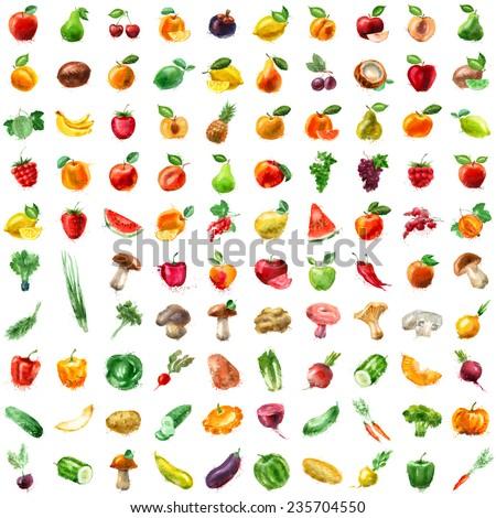 Food. Fruits, vegetables, mushrooms, berries - stock photo