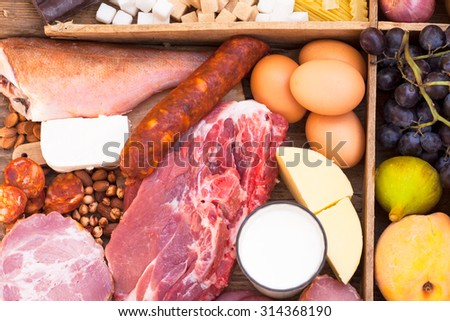Food full of proteins, meat, fish, eggs, cheese - stock photo