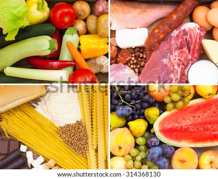 Food full of vitamins, proteins, sugar and carbohydrates - stock photo