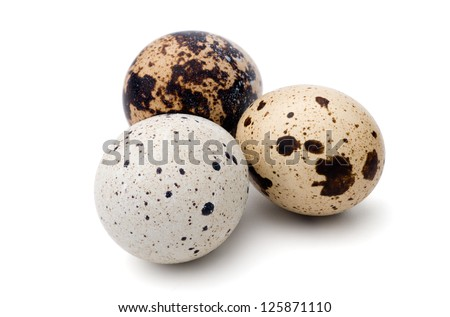 Food: group of quail eggs, isolated on white background - stock photo