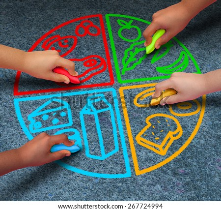 Food groups nutrition and healthy lifestyle concept as a group of diverse children holding chalk drawing a pie chart diagram on asphalt with protein dairy fruits and vegetables and starch symbols. - stock photo