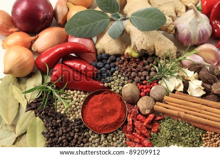 Food - herbs and spices. Culinary ingredients background. - stock photo